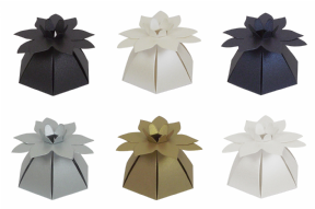 Pearlescent Flower Top Wedding / Party Favour Boxes - Choose Colour - Choose QTY
